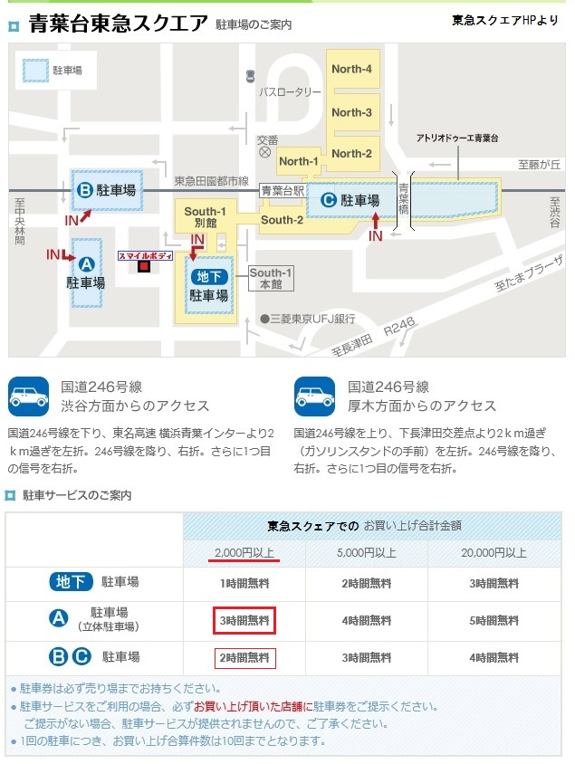 東急スクエア駐車場図